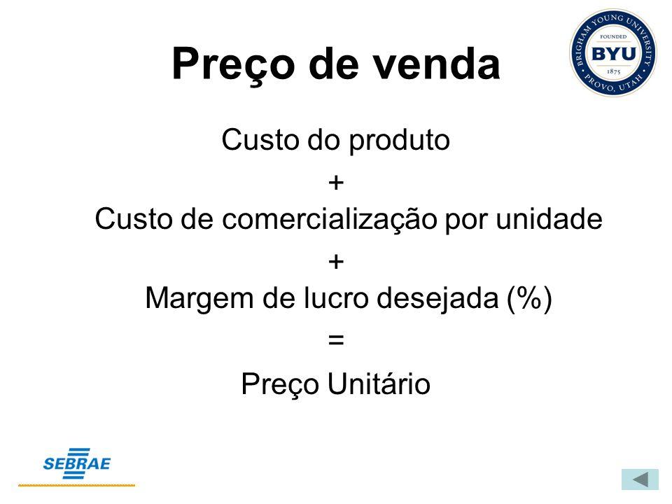 Preço de venda Custo do produto + Custo de comercialização por unidade + Margem de lucro desejada (%) = Preço Unitário