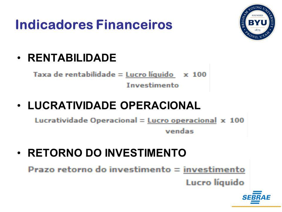 Indicadores Financeiros RENTABILIDADE LUCRATIVIDADE OPERACIONAL RETORNO DO INVESTIMENTO