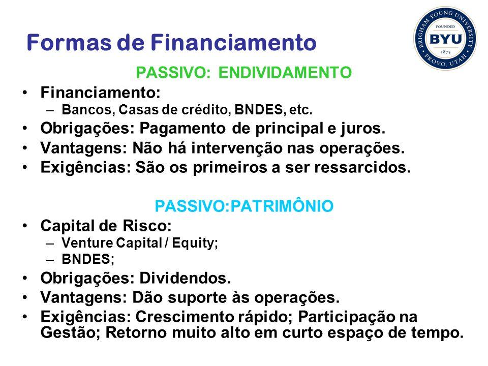 Formas de Financiamento PASSIVO: ENDIVIDAMENTO Financiamento: –Bancos, Casas de crédito, BNDES, etc.