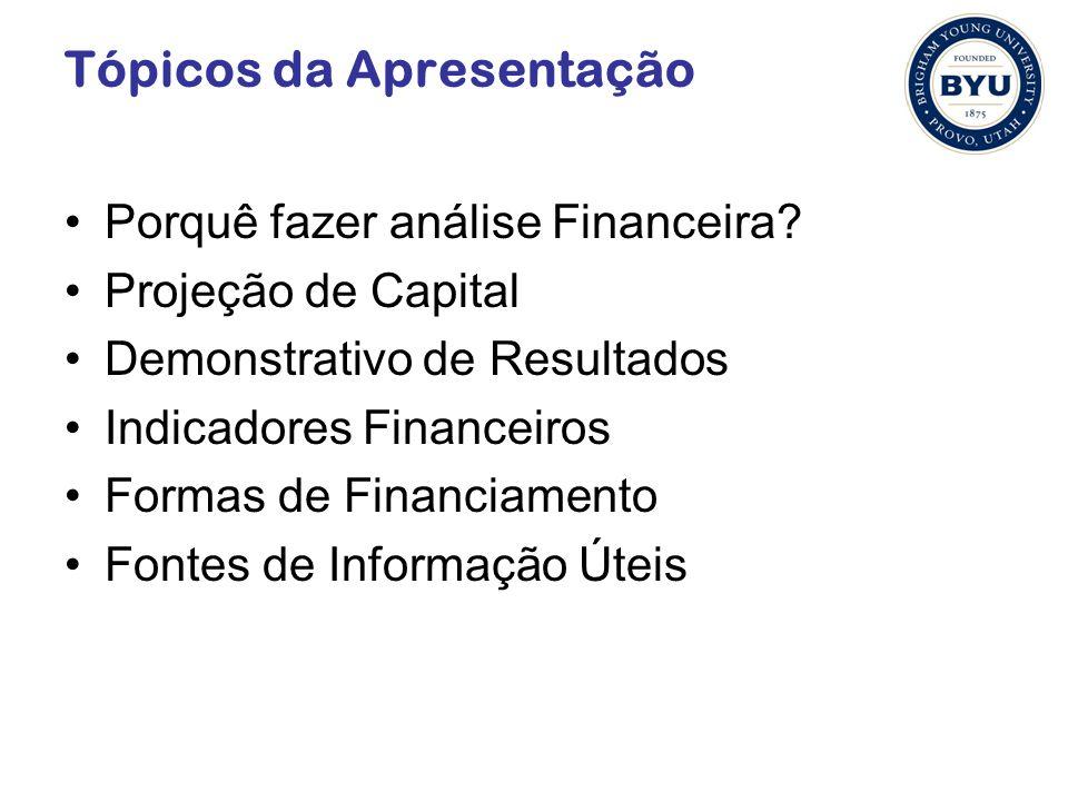 Tópicos da Apresentação Porquê fazer análise Financeira? Projeção de Capital Demonstrativo de Resultados Indicadores Financeiros Formas de Financiamen