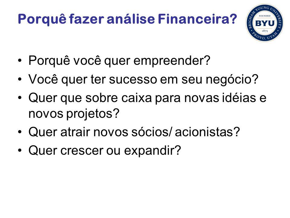 Porquê fazer análise Financeira? Porquê você quer empreender? Você quer ter sucesso em seu negócio? Quer que sobre caixa para novas idéias e novos pro