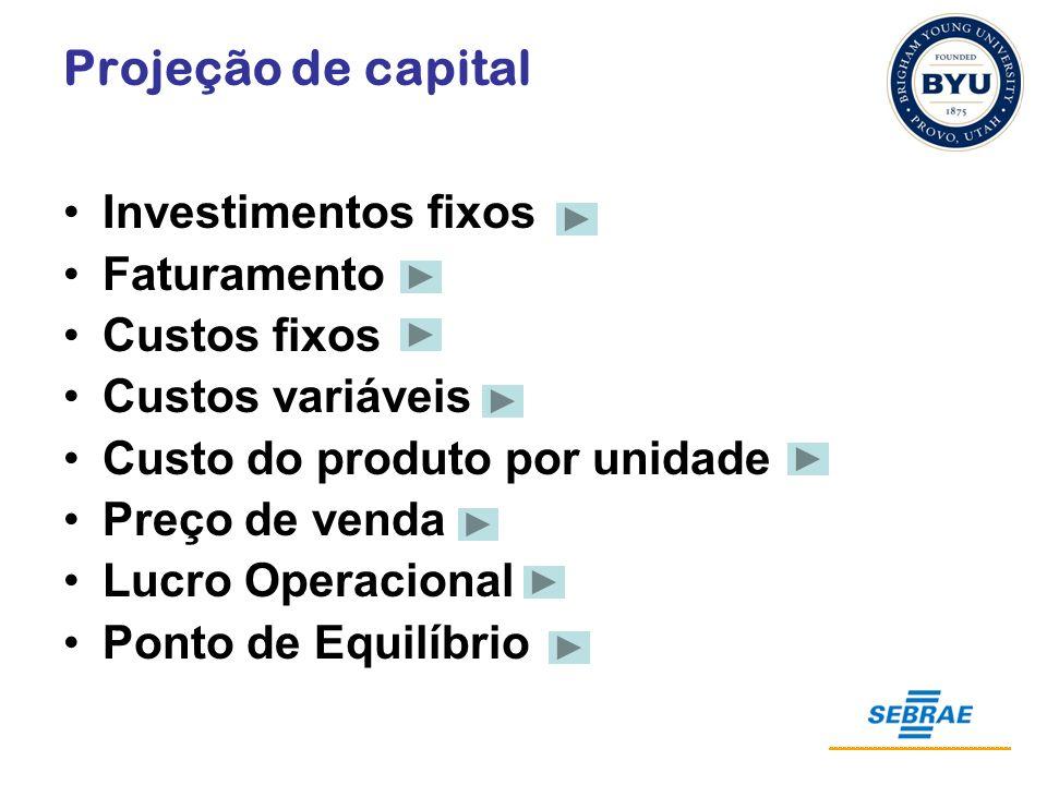 Projeção de capital Investimentos fixos Faturamento Custos fixos Custos variáveis Custo do produto por unidade Preço de venda Lucro Operacional Ponto de Equilíbrio