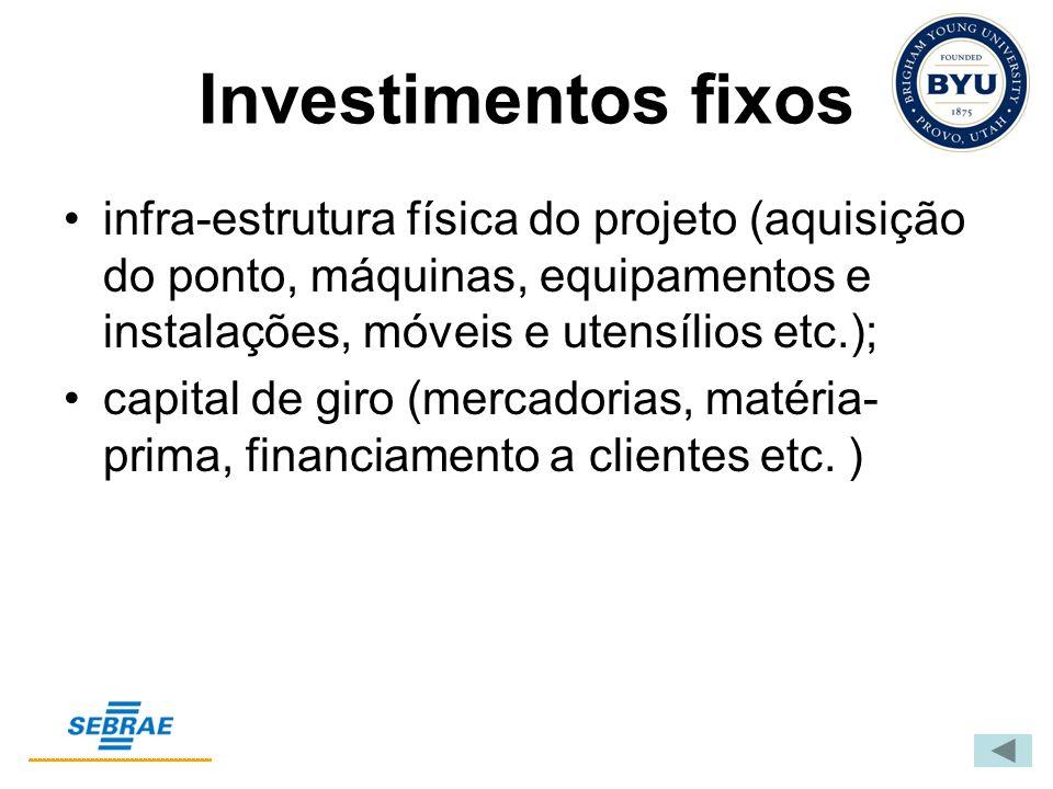 Investimentos fixos infra-estrutura física do projeto (aquisição do ponto, máquinas, equipamentos e instalações, móveis e utensílios etc.); capital de giro (mercadorias, matéria- prima, financiamento a clientes etc.