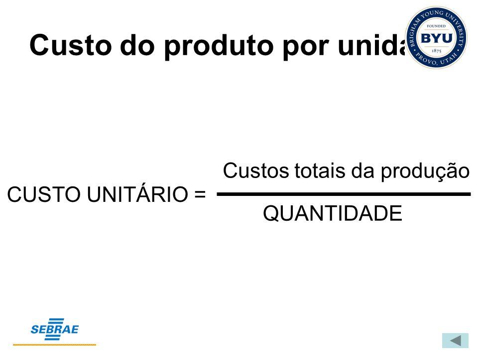 Custo do produto por unidade Custos totais da produção QUANTIDADE CUSTO UNITÁRIO =