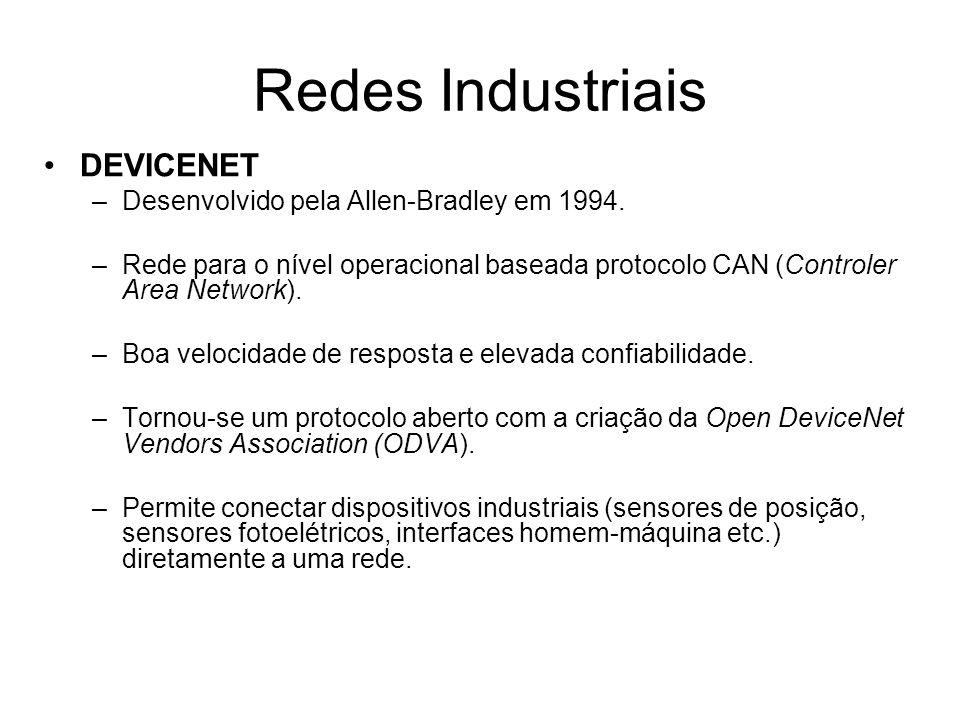 DEVICENET –Desenvolvido pela Allen-Bradley em 1994. –Rede para o nível operacional baseada protocolo CAN (Controler Area Network). –Boa velocidade de