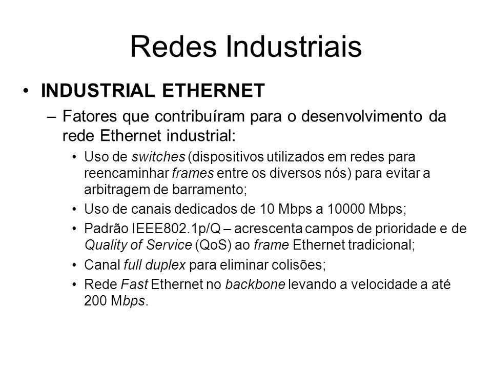 INDUSTRIAL ETHERNET –Fatores que contribuíram para o desenvolvimento da rede Ethernet industrial: Uso de switches (dispositivos utilizados em redes pa