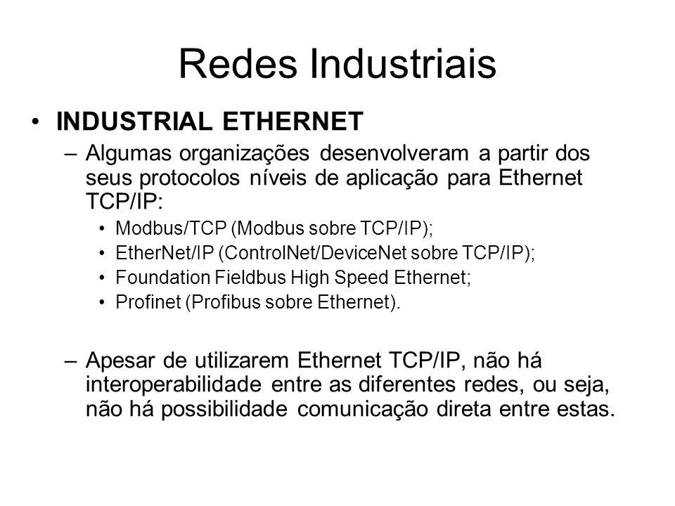 INDUSTRIAL ETHERNET –Algumas organizações desenvolveram a partir dos seus protocolos níveis de aplicação para Ethernet TCP/IP: Modbus/TCP (Modbus sobr
