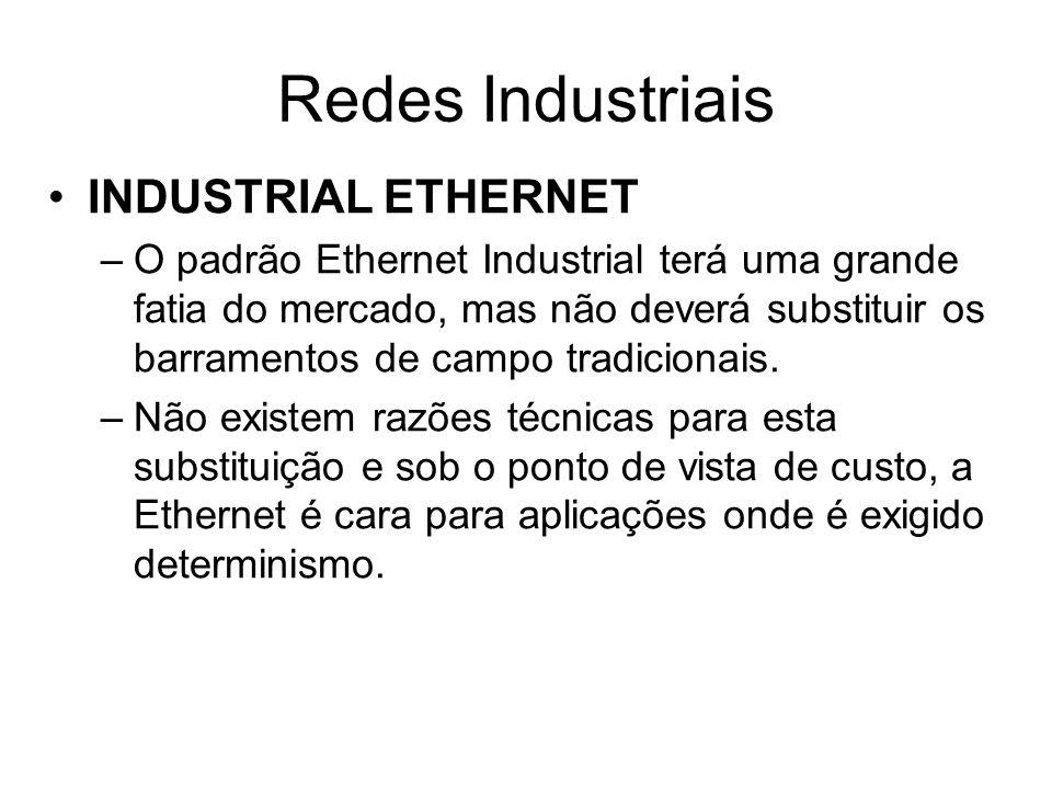 INDUSTRIAL ETHERNET –O padrão Ethernet Industrial terá uma grande fatia do mercado, mas não deverá substituir os barramentos de campo tradicionais. –N