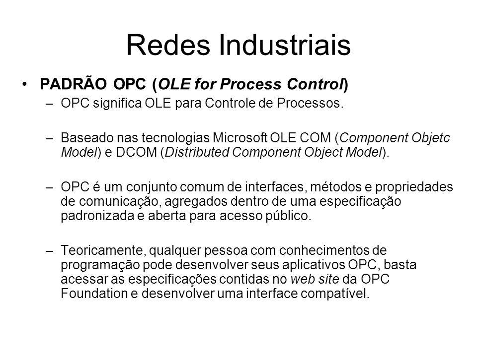 PADRÃO OPC (OLE for Process Control) –OPC significa OLE para Controle de Processos. –Baseado nas tecnologias Microsoft OLE COM (Component Objetc Model