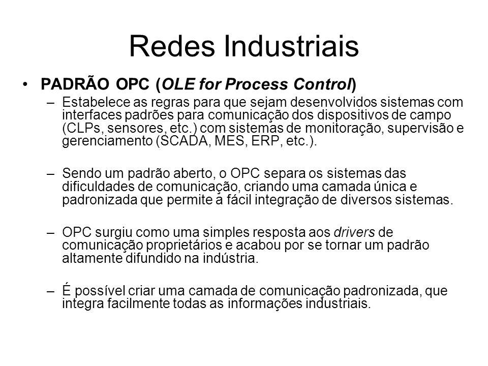 PADRÃO OPC (OLE for Process Control) –Estabelece as regras para que sejam desenvolvidos sistemas com interfaces padrões para comunicação dos dispositi