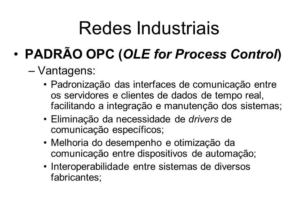PADRÃO OPC (OLE for Process Control) –Vantagens: Padronização das interfaces de comunicação entre os servidores e clientes de dados de tempo real, fac