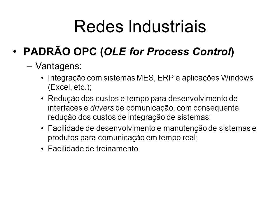 PADRÃO OPC (OLE for Process Control) –Vantagens: Integração com sistemas MES, ERP e aplicações Windows (Excel, etc.); Redução dos custos e tempo para