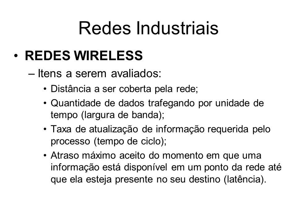 REDES WIRELESS –Itens a serem avaliados: Distância a ser coberta pela rede; Quantidade de dados trafegando por unidade de tempo (largura de banda); Ta