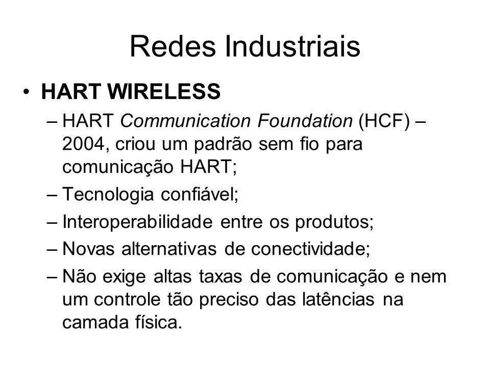 HART WIRELESS –HART Communication Foundation (HCF) – 2004, criou um padrão sem fio para comunicação HART; –Tecnologia confiável; –Interoperabilidade e