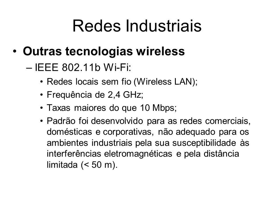 Outras tecnologias wireless –IEEE 802.11b Wi-Fi: Redes locais sem fio (Wireless LAN); Frequência de 2,4 GHz; Taxas maiores do que 10 Mbps; Padrão foi