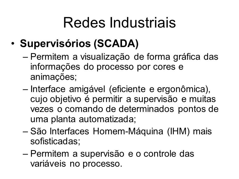 Supervisórios (SCADA) –Permitem a visualização de forma gráfica das informações do processo por cores e animações; –Interface amigável (eficiente e er