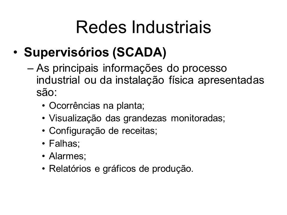 Supervisórios (SCADA) –As principais informações do processo industrial ou da instalação física apresentadas são: Ocorrências na planta; Visualização