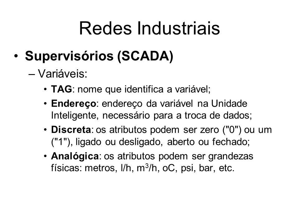 Supervisórios (SCADA) –Variáveis: TAG: nome que identifica a variável; Endereço: endereço da variável na Unidade Inteligente, necessário para a troca