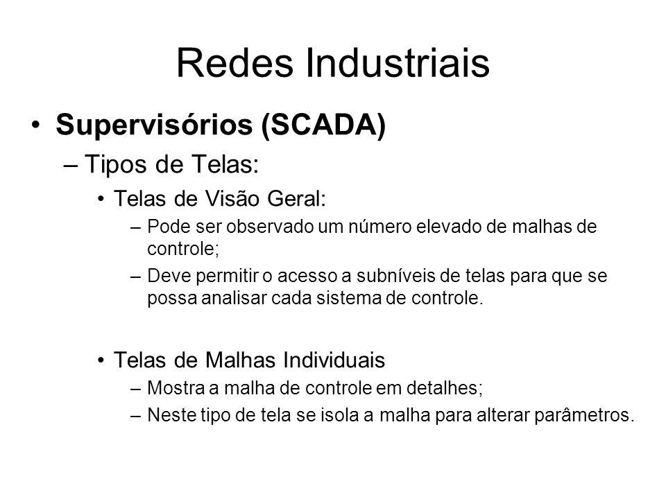 Supervisórios (SCADA) –Tipos de Telas: Telas de Visão Geral: –Pode ser observado um número elevado de malhas de controle; –Deve permitir o acesso a su
