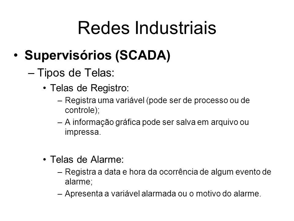 Supervisórios (SCADA) –Tipos de Telas: Telas de Registro: –Registra uma variável (pode ser de processo ou de controle); –A informação gráfica pode ser