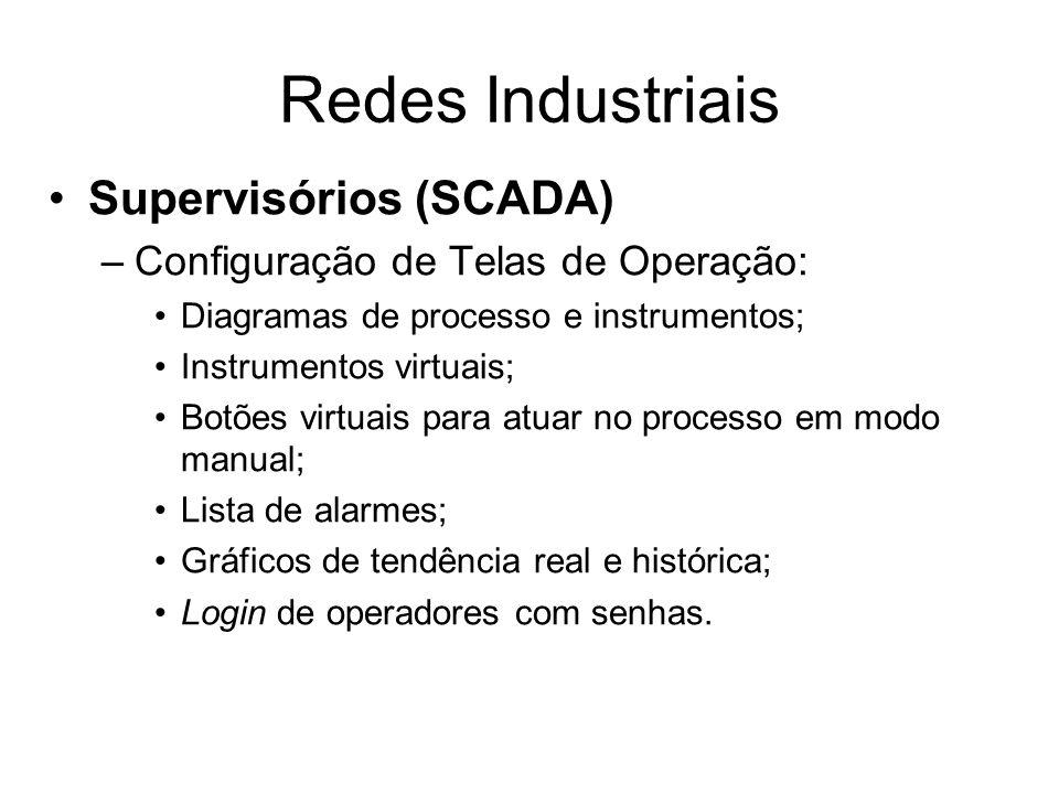 Supervisórios (SCADA) –Configuração de Telas de Operação: Diagramas de processo e instrumentos; Instrumentos virtuais; Botões virtuais para atuar no p