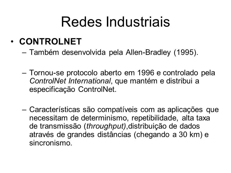 CONTROLNET –Também desenvolvida pela Allen-Bradley (1995). –Tornou-se protocolo aberto em 1996 e controlado pela ControlNet International, que mantém