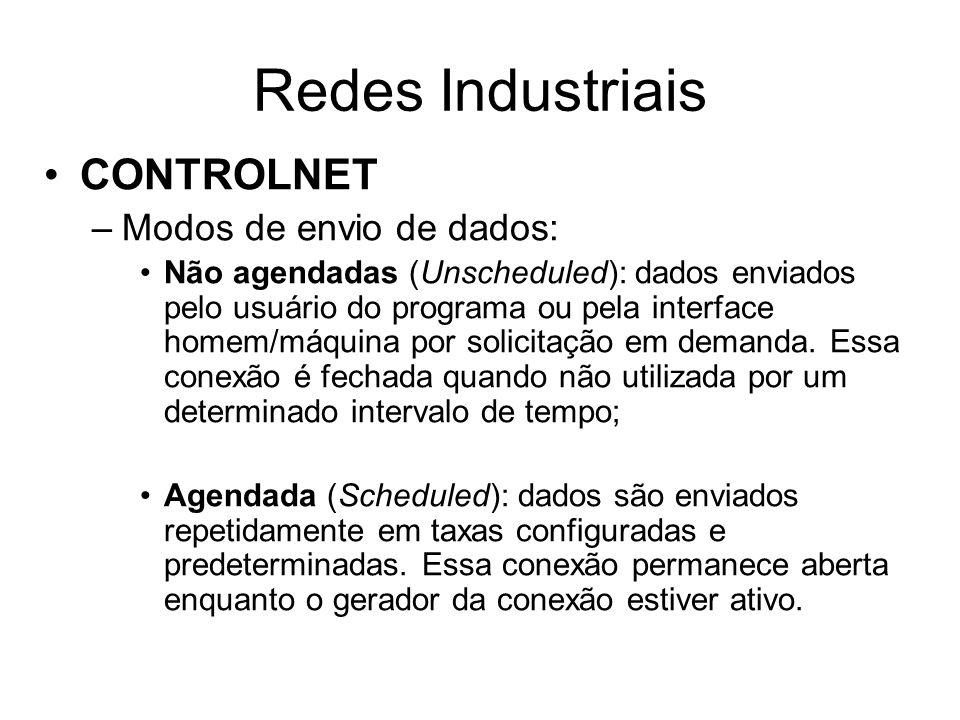CONTROLNET –Modos de envio de dados: Não agendadas (Unscheduled): dados enviados pelo usuário do programa ou pela interface homem/máquina por solicita