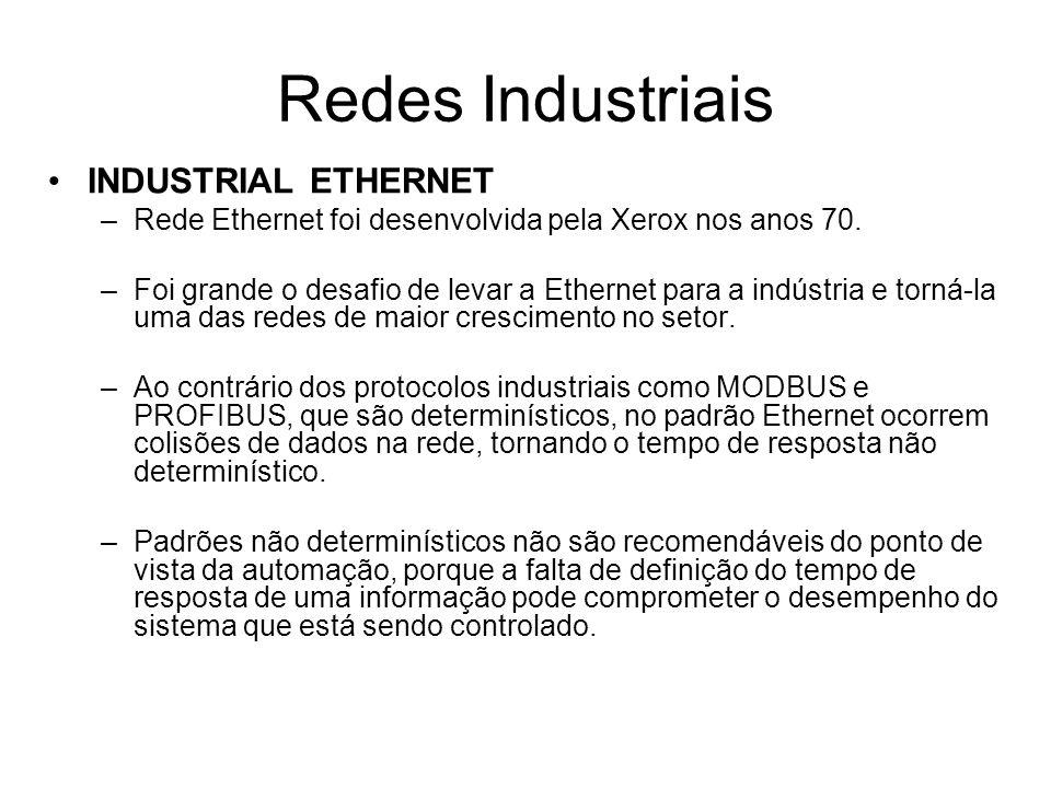 INDUSTRIAL ETHERNET –Rede Ethernet foi desenvolvida pela Xerox nos anos 70. –Foi grande o desafio de levar a Ethernet para a indústria e torná-la uma