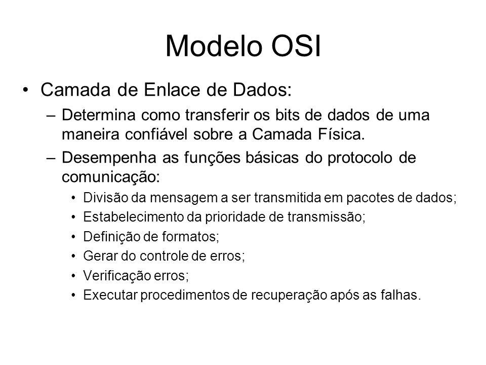 Camada de Enlace de Dados: –Determina como transferir os bits de dados de uma maneira confiável sobre a Camada Física. –Desempenha as funções básicas