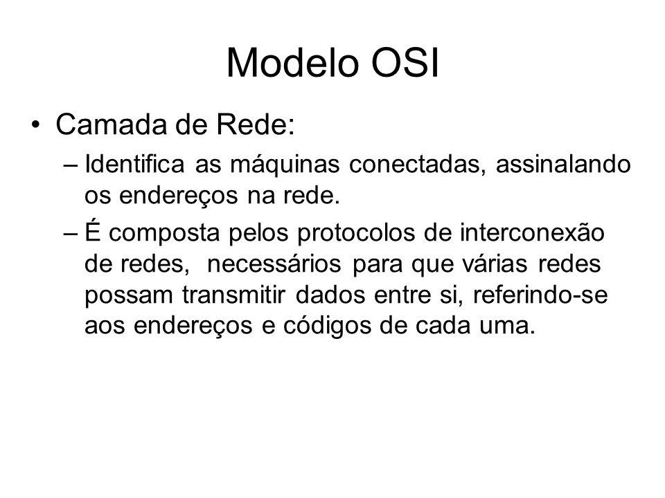 Camada de Rede: –Identifica as máquinas conectadas, assinalando os endereços na rede. –É composta pelos protocolos de interconexão de redes, necessári