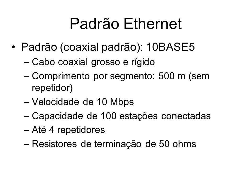 Padrão (coaxial padrão): 10BASE5 –Cabo coaxial grosso e rígido –Comprimento por segmento: 500 m (sem repetidor) –Velocidade de 10 Mbps –Capacidade de
