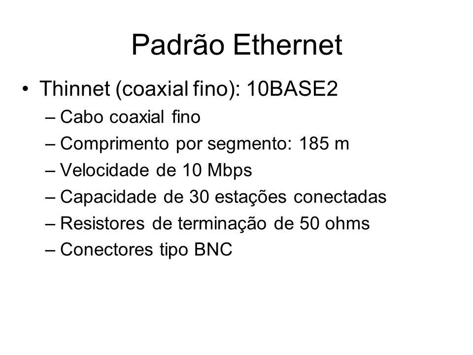Thinnet (coaxial fino): 10BASE2 –Cabo coaxial fino –Comprimento por segmento: 185 m –Velocidade de 10 Mbps –Capacidade de 30 estações conectadas –Resi