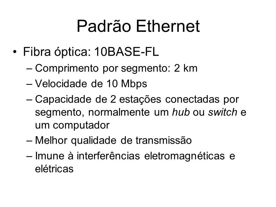 Fibra óptica: 10BASE-FL –Comprimento por segmento: 2 km –Velocidade de 10 Mbps –Capacidade de 2 estações conectadas por segmento, normalmente um hub o