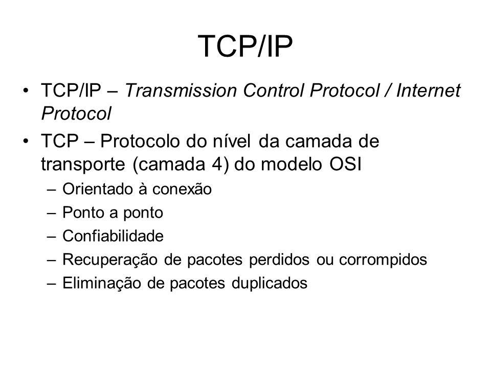 TCP/IP – Transmission Control Protocol / Internet Protocol TCP – Protocolo do nível da camada de transporte (camada 4) do modelo OSI –Orientado à cone