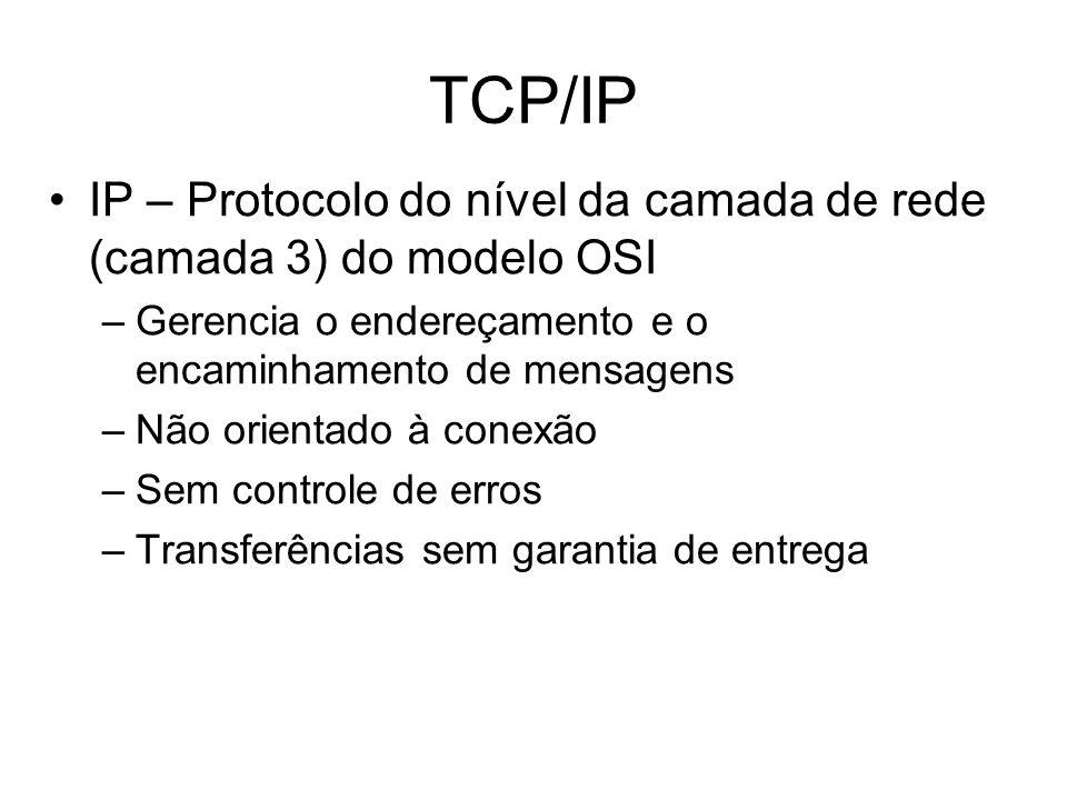 IP – Protocolo do nível da camada de rede (camada 3) do modelo OSI –Gerencia o endereçamento e o encaminhamento de mensagens –Não orientado à conexão