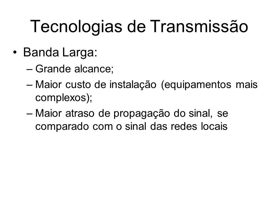 Banda Larga: –Grande alcance; –Maior custo de instalação (equipamentos mais complexos); –Maior atraso de propagação do sinal, se comparado com o sinal