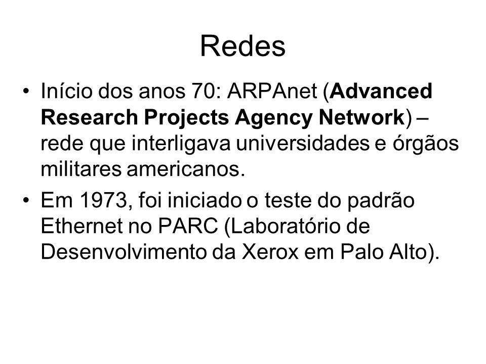 Início dos anos 70: ARPAnet (Advanced Research Projects Agency Network) – rede que interligava universidades e órgãos militares americanos. Em 1973, f