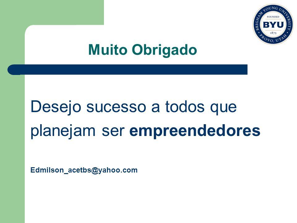 Muito Obrigado Desejo sucesso a todos que planejam ser empreendedores Edmilson_acetbs@yahoo.com