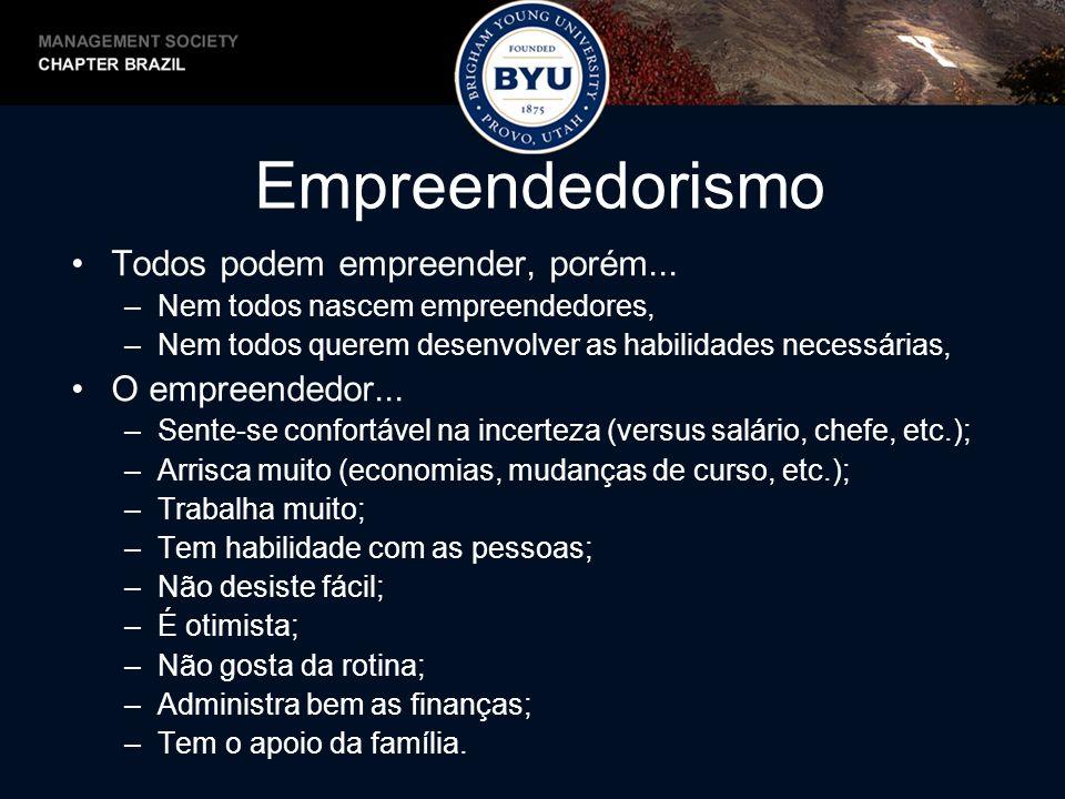 Empreendedorismo Todos podem empreender, porém... –Nem todos nascem empreendedores, –Nem todos querem desenvolver as habilidades necessárias, O empree