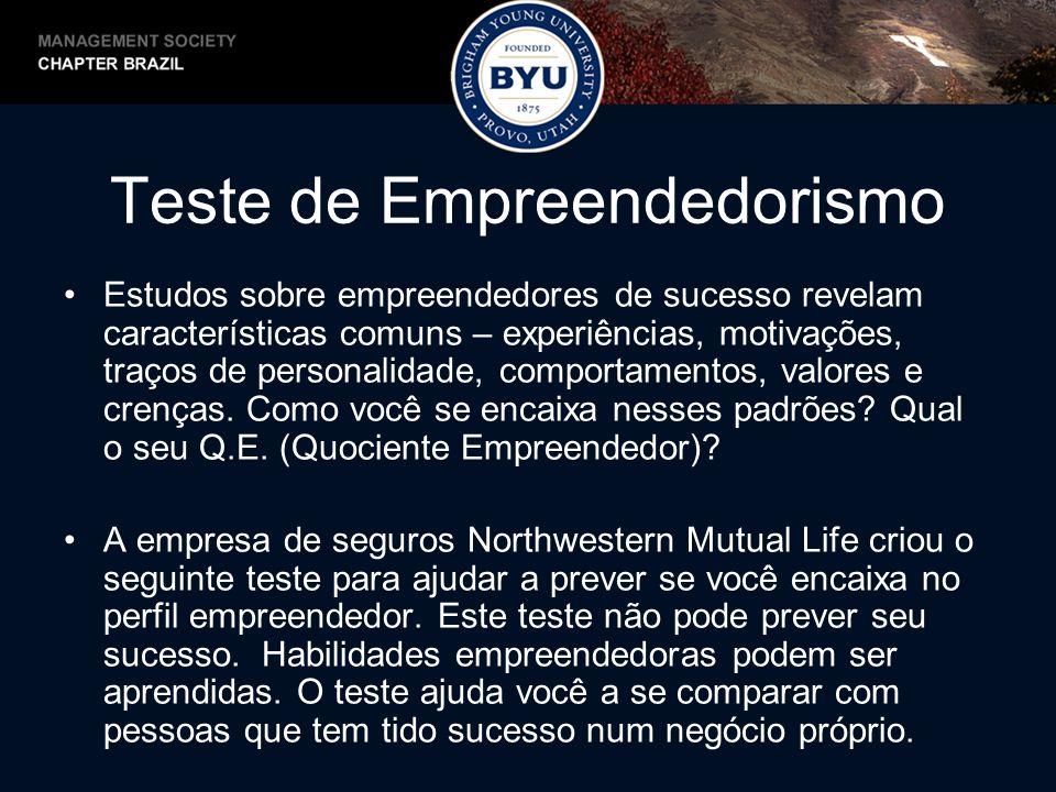 Teste de Empreendedorismo Estudos sobre empreendedores de sucesso revelam características comuns – experiências, motivações, traços de personalidade,