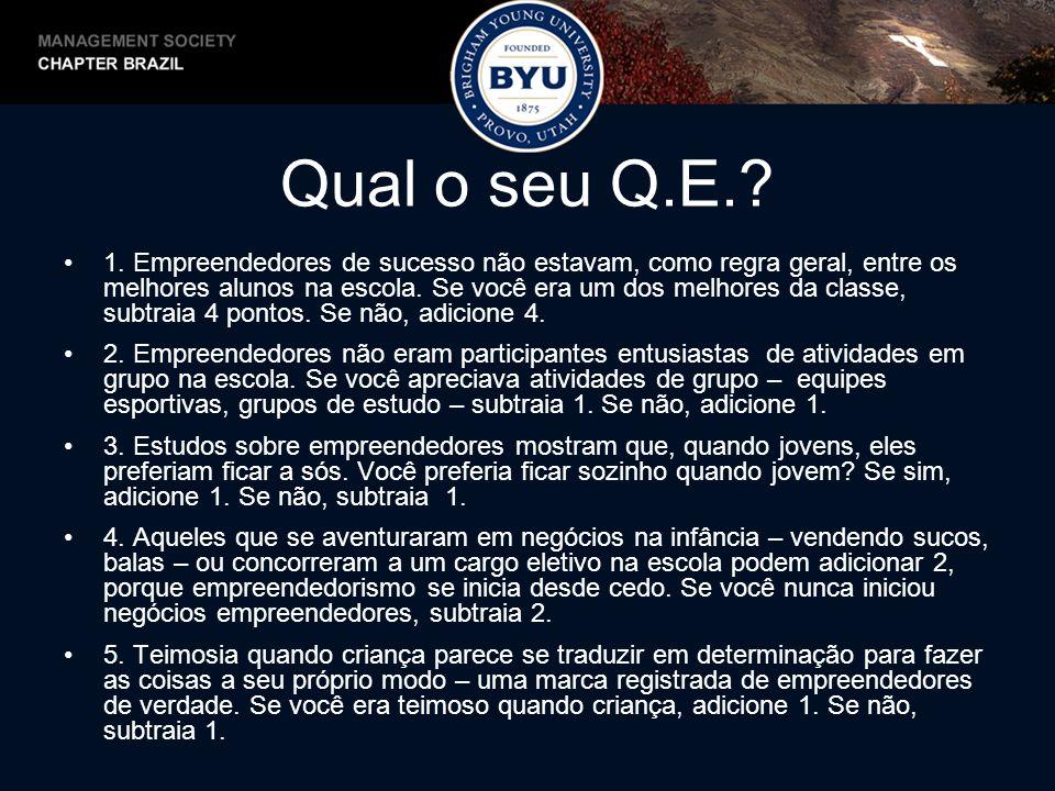 Qual o seu Q.E.? 1. Empreendedores de sucesso não estavam, como regra geral, entre os melhores alunos na escola. Se você era um dos melhores da classe