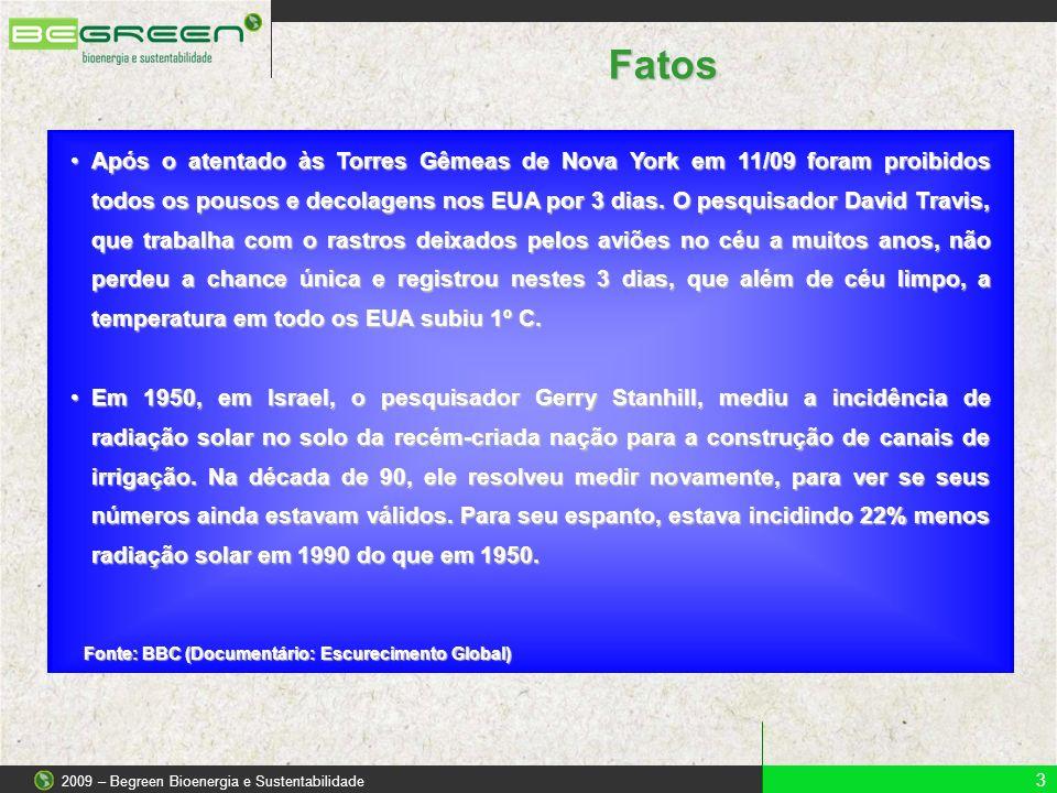 3 2009 – Begreen Bioenergia e Sustentabilidade Fatos Após o atentado às Torres Gêmeas de Nova York em 11/09 foram proibidos todos os pousos e decolage