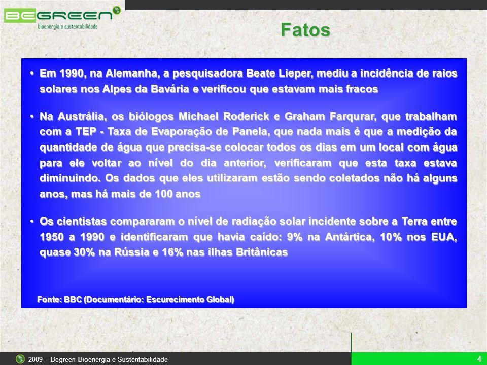4 2009 – Begreen Bioenergia e Sustentabilidade Fatos Fonte: BBC (Documentário: Escurecimento Global) Em 1990, na Alemanha, a pesquisadora Beate Lieper