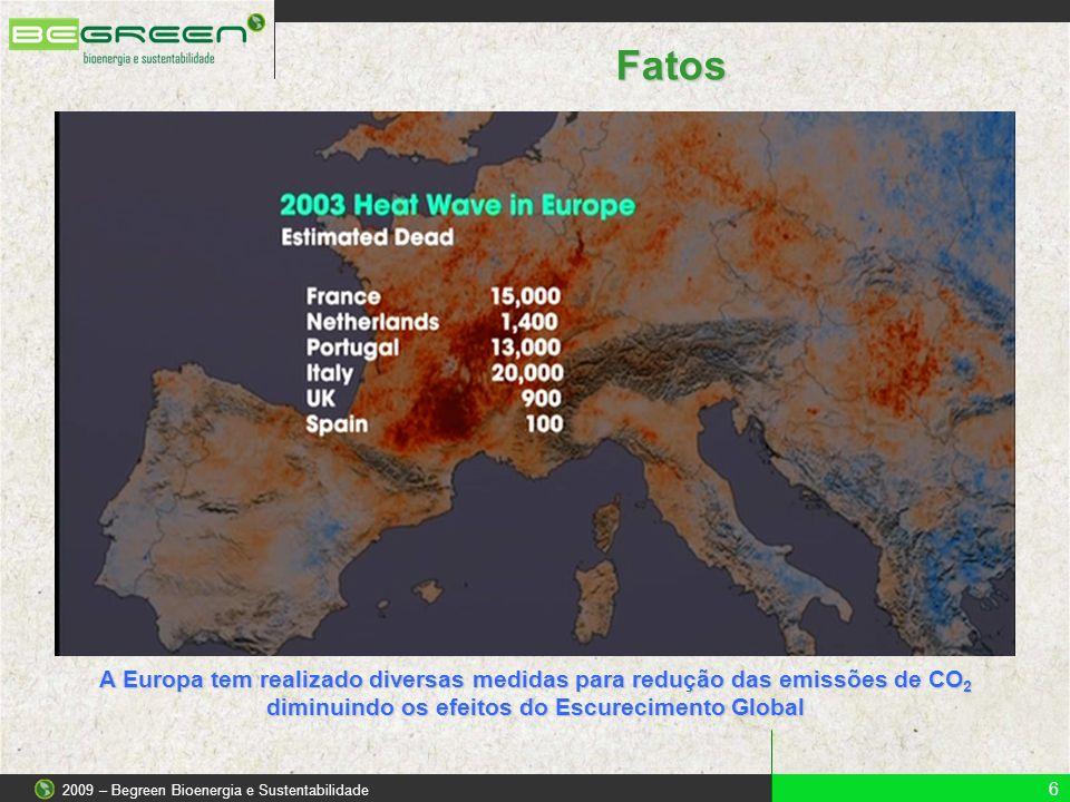 6 2009 – Begreen Bioenergia e Sustentabilidade Fatos A Europa tem realizado diversas medidas para redução das emissões de CO 2 diminuindo os efeitos d