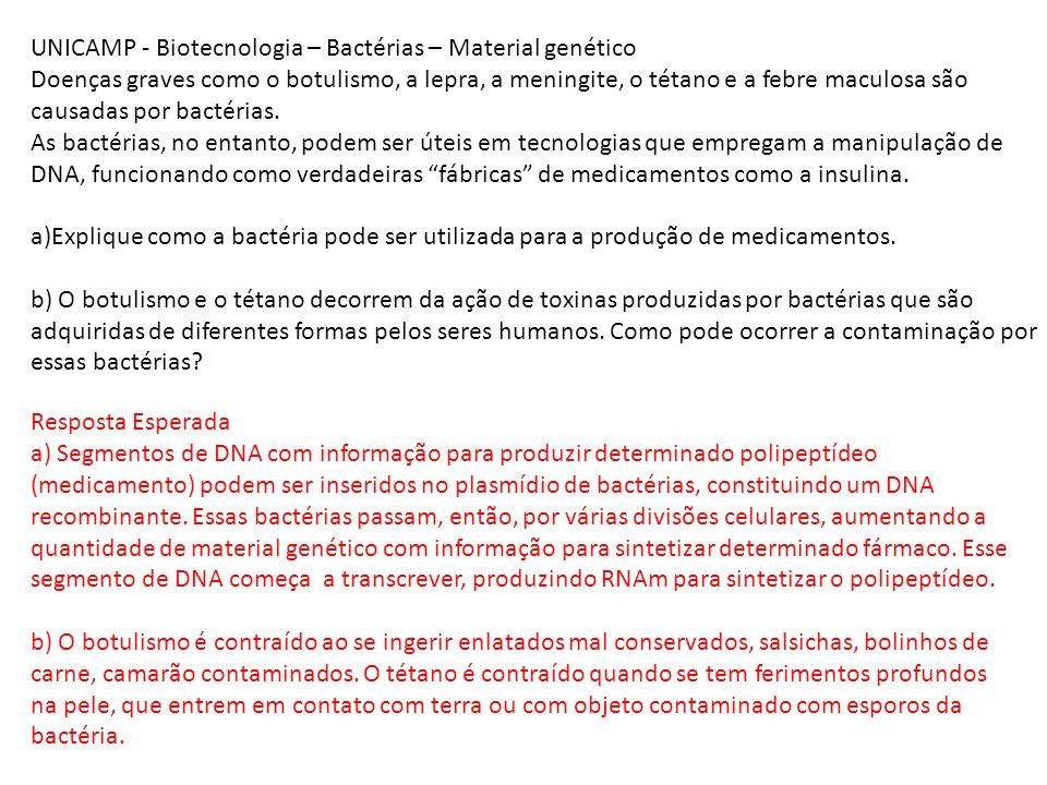 UNICAMP - Biotecnologia – Bactérias – Material genético Doenças graves como o botulismo, a lepra, a meningite, o tétano e a febre maculosa são causada
