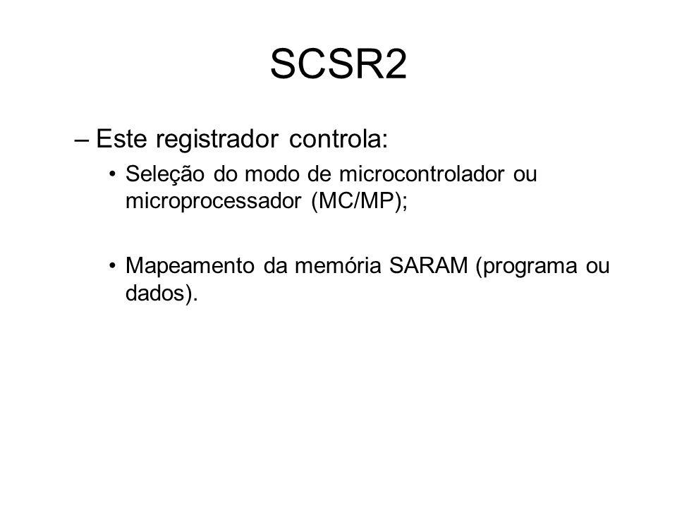 SCSR2 –Este registrador controla: Seleção do modo de microcontrolador ou microprocessador (MC/MP); Mapeamento da memória SARAM (programa ou dados).
