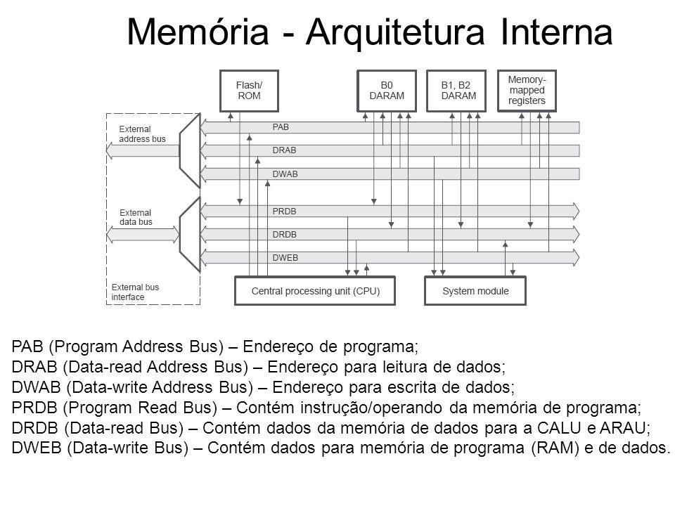 Memória - Arquitetura Interna PAB (Program Address Bus) – Endereço de programa; DRAB (Data-read Address Bus) – Endereço para leitura de dados; DWAB (Data-write Address Bus) – Endereço para escrita de dados; PRDB (Program Read Bus) – Contém instrução/operando da memória de programa; DRDB (Data-read Bus) – Contém dados da memória de dados para a CALU e ARAU; DWEB (Data-write Bus) – Contém dados para memória de programa (RAM) e de dados.