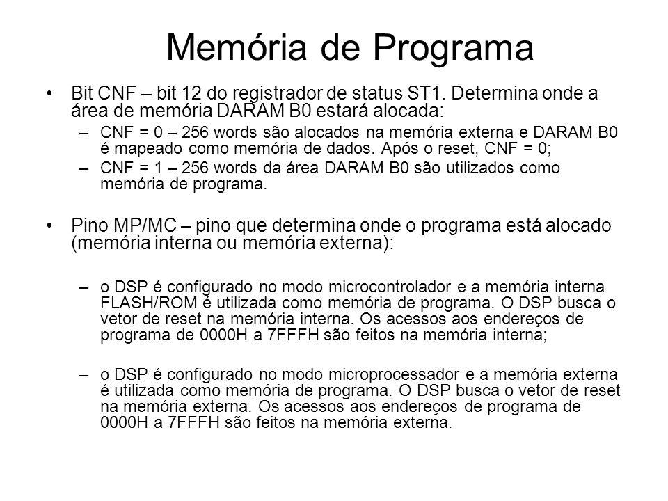 Configuração do Sistema A configuração básica é feita por meio dos registradores de controle e status: –SCSR1 – ocupa o endereço 7018H da memória de dados; –SCSR2 – ocupa o endereço 7019H da memória de dados;