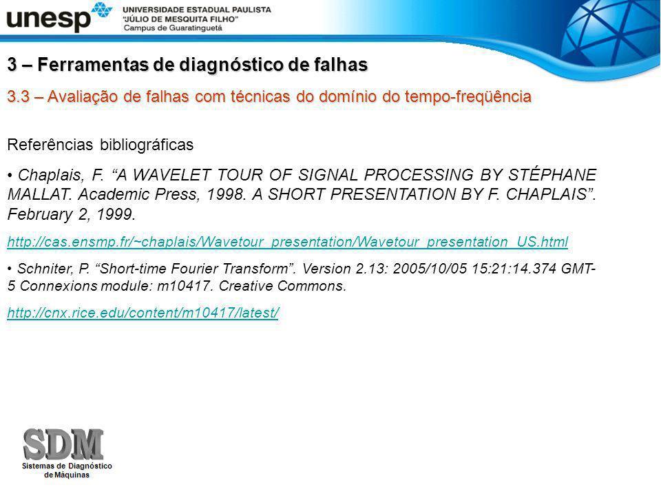 3.3 – Avaliação de falhas com técnicas do domínio do tempo-freqüência Referências bibliográficas Chaplais, F.