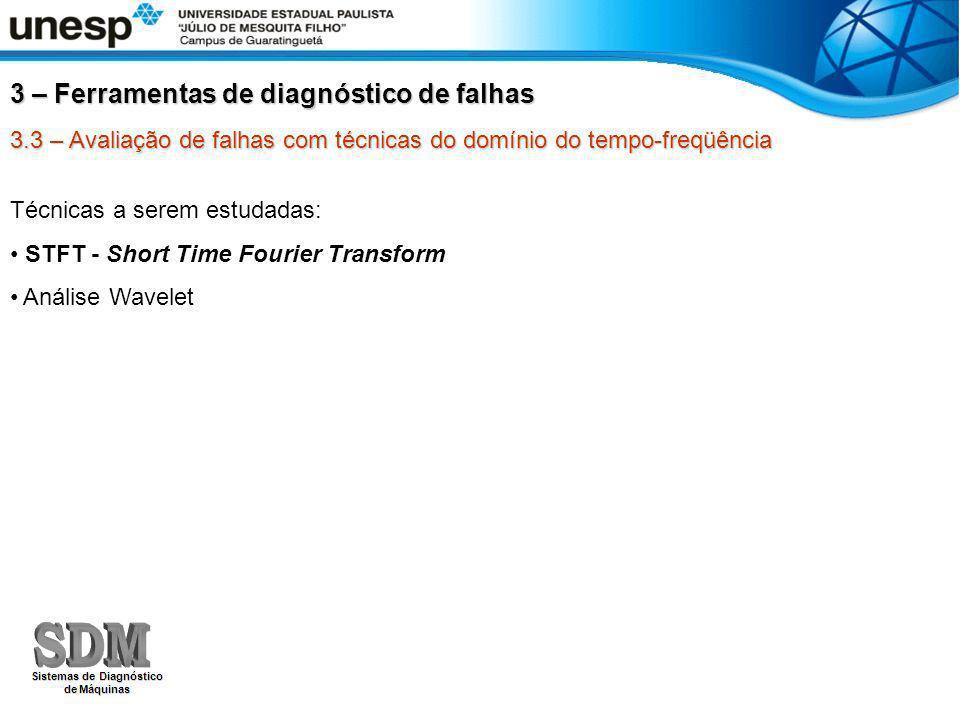 3.3 – Avaliação de falhas com técnicas do domínio do tempo-freqüência STFT - Short Time Fourier Transform Também conhecida como Transformada de Fourier Janelada Consiste em mover uma janela de tempo pequeno sobre o sinal temporal e obter o espectro de Fourier em função do deslocamento no tempo.